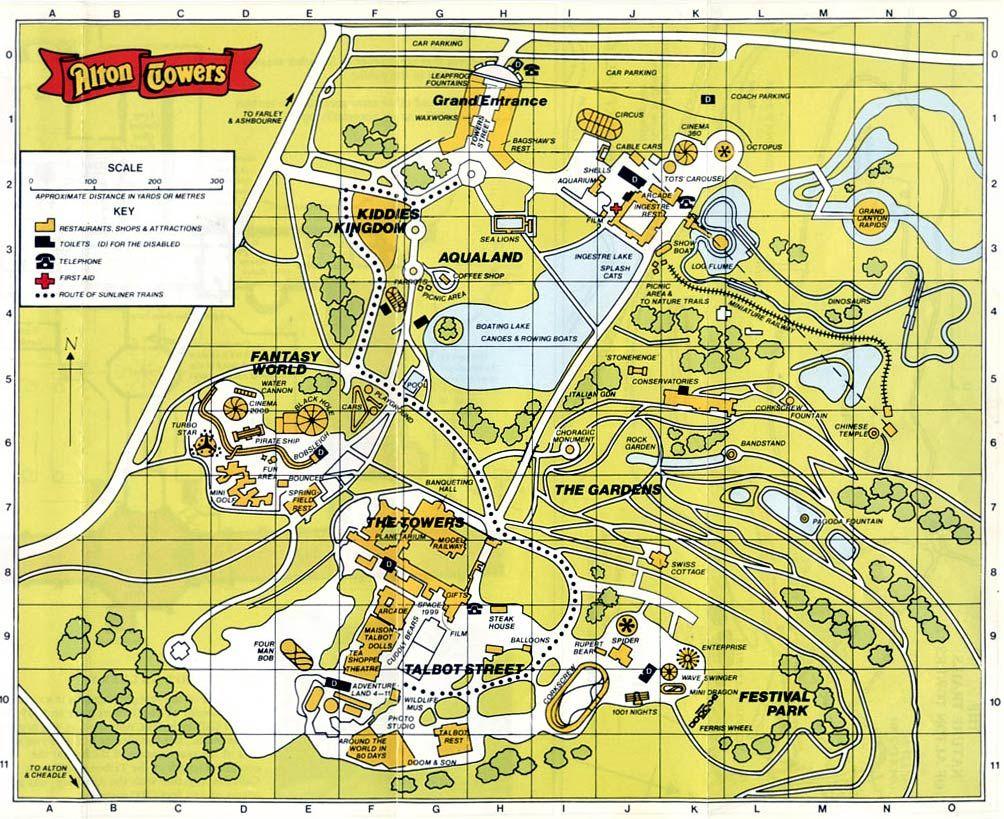 Alton Towers 1986 Theme Park Map Theme Park Alton
