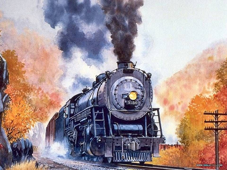 Old Train Engine In This Beautiful Watercolor Painting This