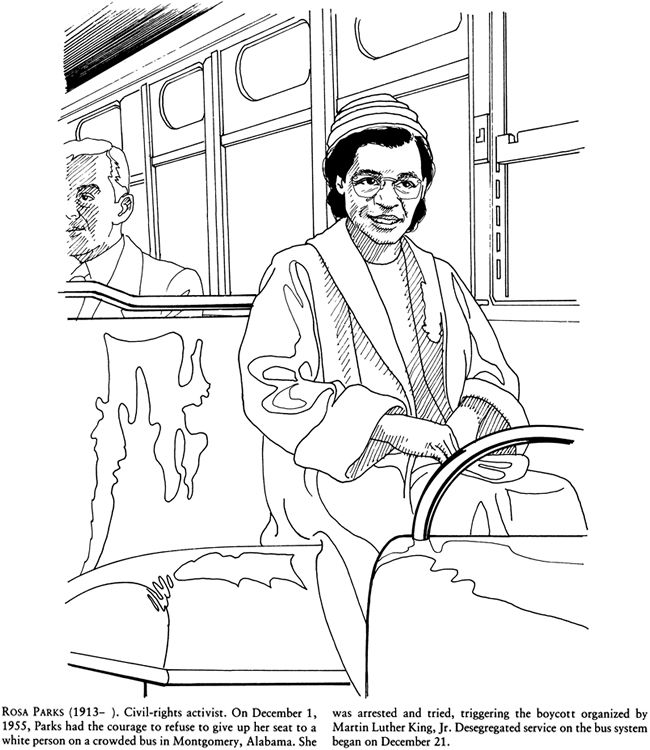 Great African Americans Coloring Book ROSA PARKS Welcome To Dover Publications