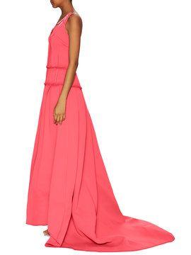 Eyelet Belt Strap Floor Length Gown from Carolina Herrera on Gilt
