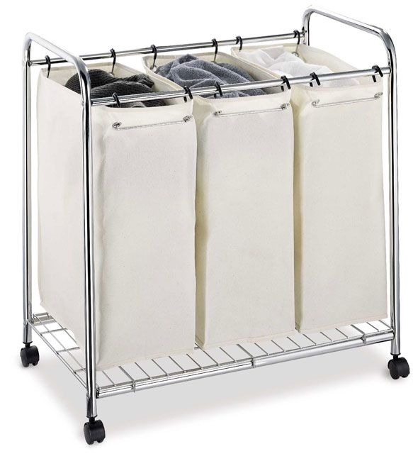 Organize It All 3 Section Laundry Sorter White Metal Laundry