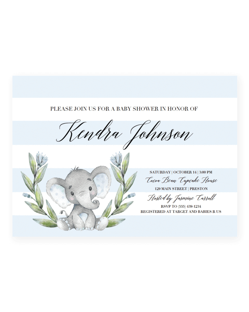 Blue Elephant Baby Shower Invitation Templates In 2018 Elephant