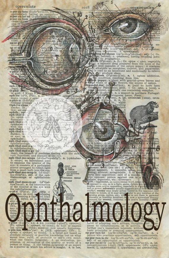 PRINT Ophthalmology Mixed Media Drawing On Antique Dictionary Page