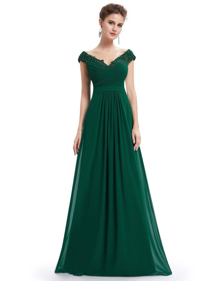 Elegant beaded off shoulder evening gown in emily sweet