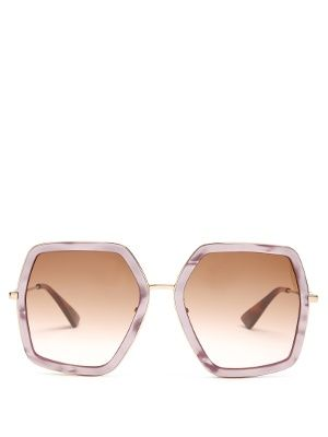 d6e4c6c6c79aa Oversized hexagon-frame sunglasses