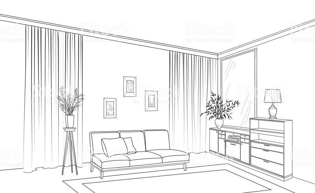 Home Living Room Interior Outline Sketch Of Furniture With Sofa Shelving Table Liv Interior Design Living Room Modern Living Room Interior Living Room Interior