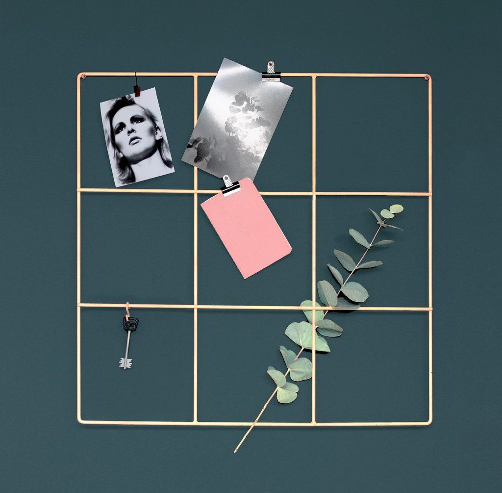 9 Square Grid in Nude color by Wallment. Finnish Design. Hall wall storage for keys, mail and photos or an office / workspace memo board for important notes and inspirational pictures etc. (Or for use as plant support - and the eucalyptus branch is a great idea too) #anslagstavla #hemkontor