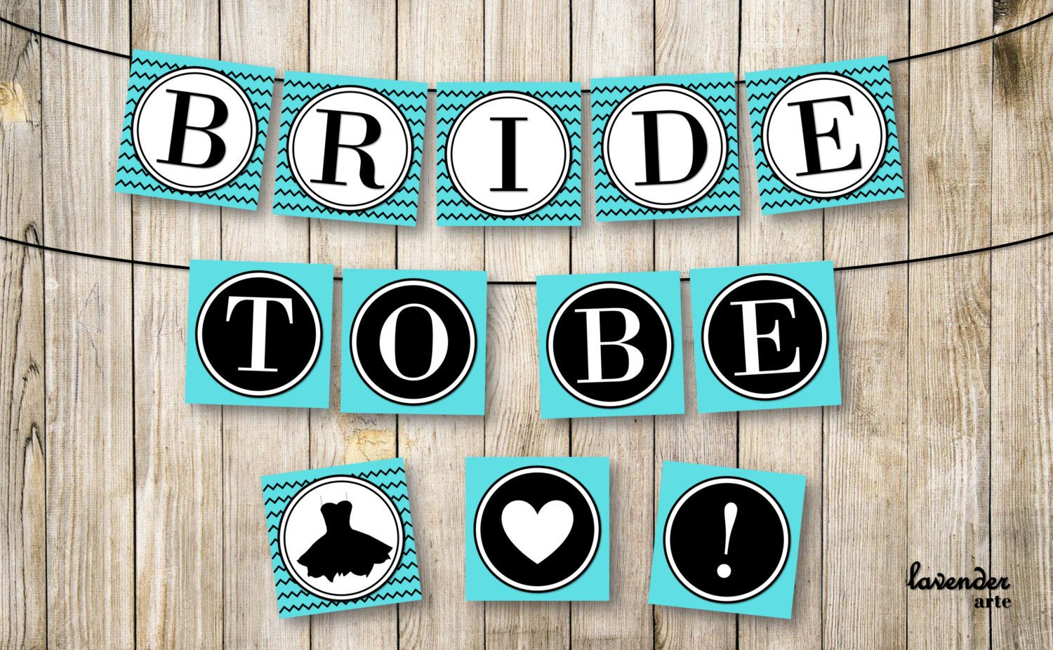 Blue Bridal Shower Banner Turquoise Black Bride To Be Party Garland ...