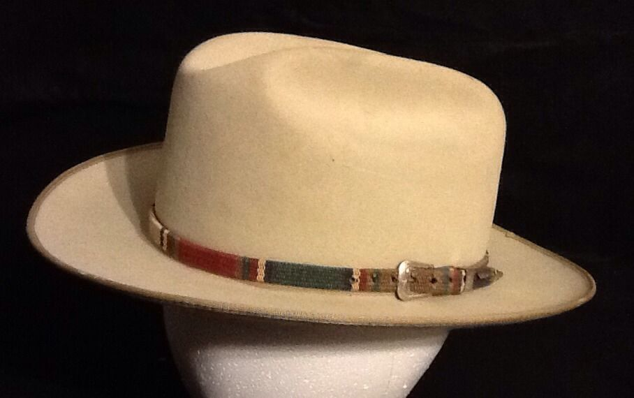 1639caf8faf Vintage Tan Stetson Businessman Cowboy 4x Fur Felt Open Road Hat 7 1 4 Hat
