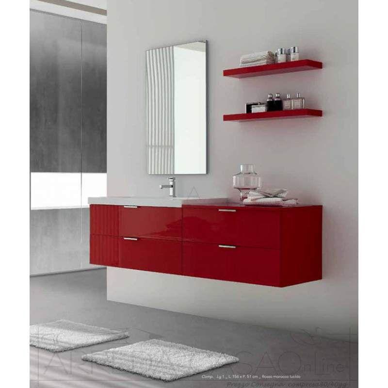 Prezzi Arredo Bagno Moderno.Arredo Bagno Moderno Rosso Basi 2 Cassetti Ly01 Prezzo
