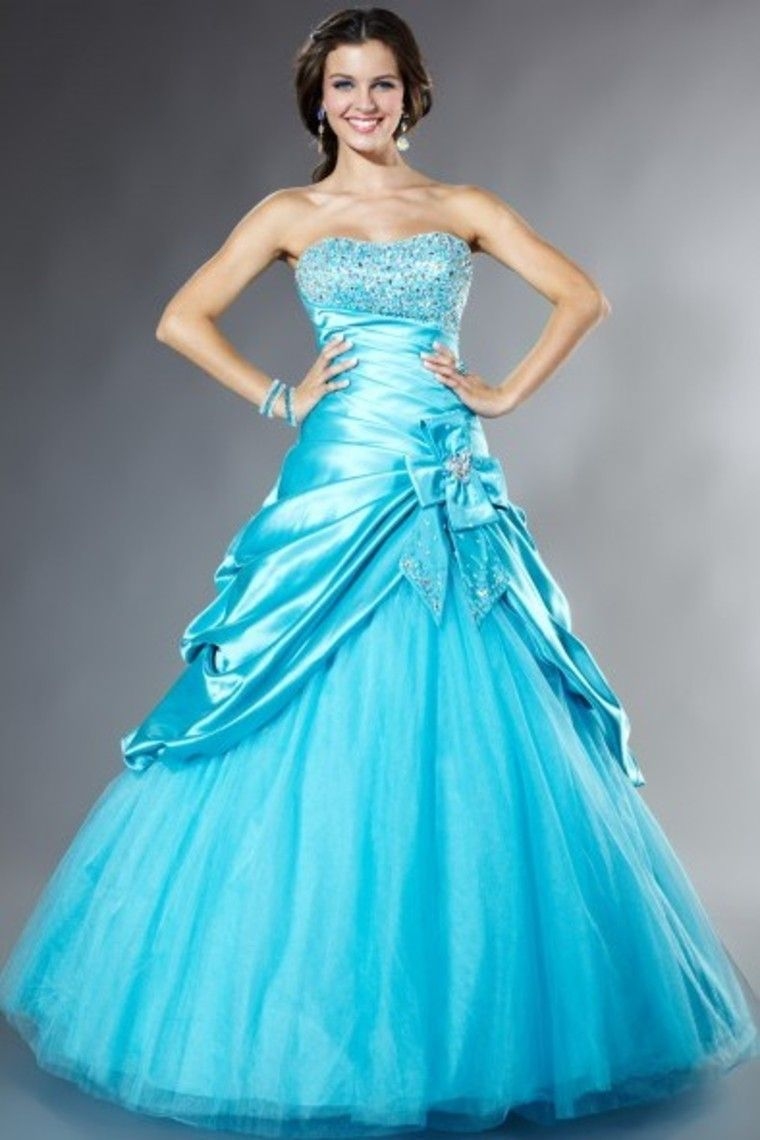 Shop Scalloped Neckline Stunning Ball Gown Elastic Satin Prom ...