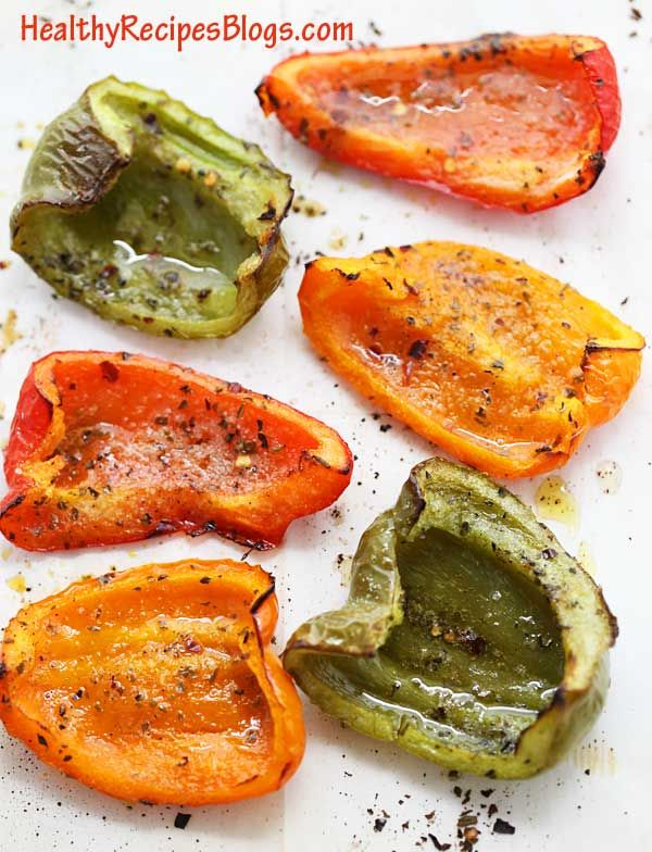 Roasted Bell Peppers with Olive Oil | Healthy Recipes Blog #bellpeppers