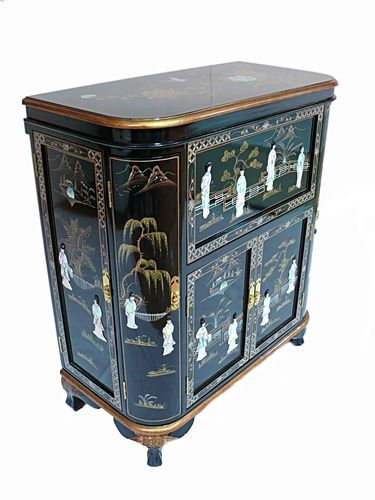 Lacquered Drinks Cabinet Bar Unit Oriental Furniture Chinese Bottle Holder Wine