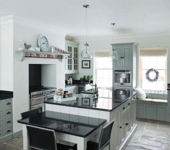 Black, White, Duck Egg Blue Kitchen-love!
