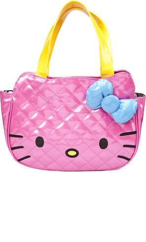 5e90714c9a27 Stand out with the Hello Kitty tote! This shiny vinyl