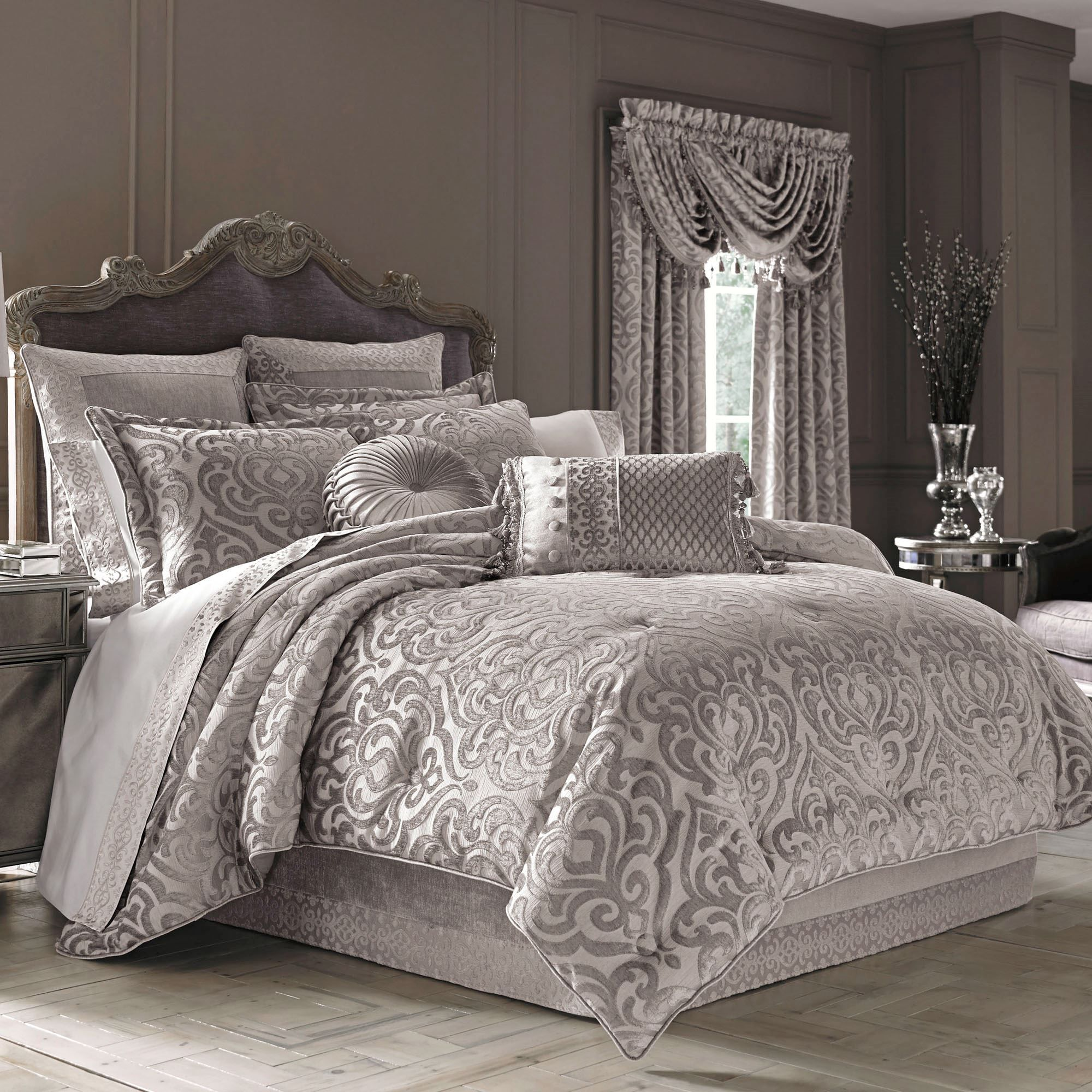 Sicily Silver Gray Medallion Comforter Bedding By J Queen New York
