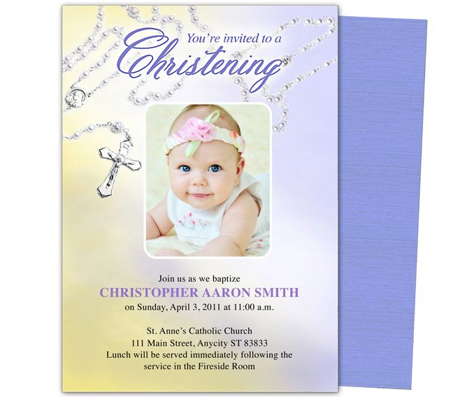 Baby Baptism Christening Templates Beads Baby Baptism Invitation