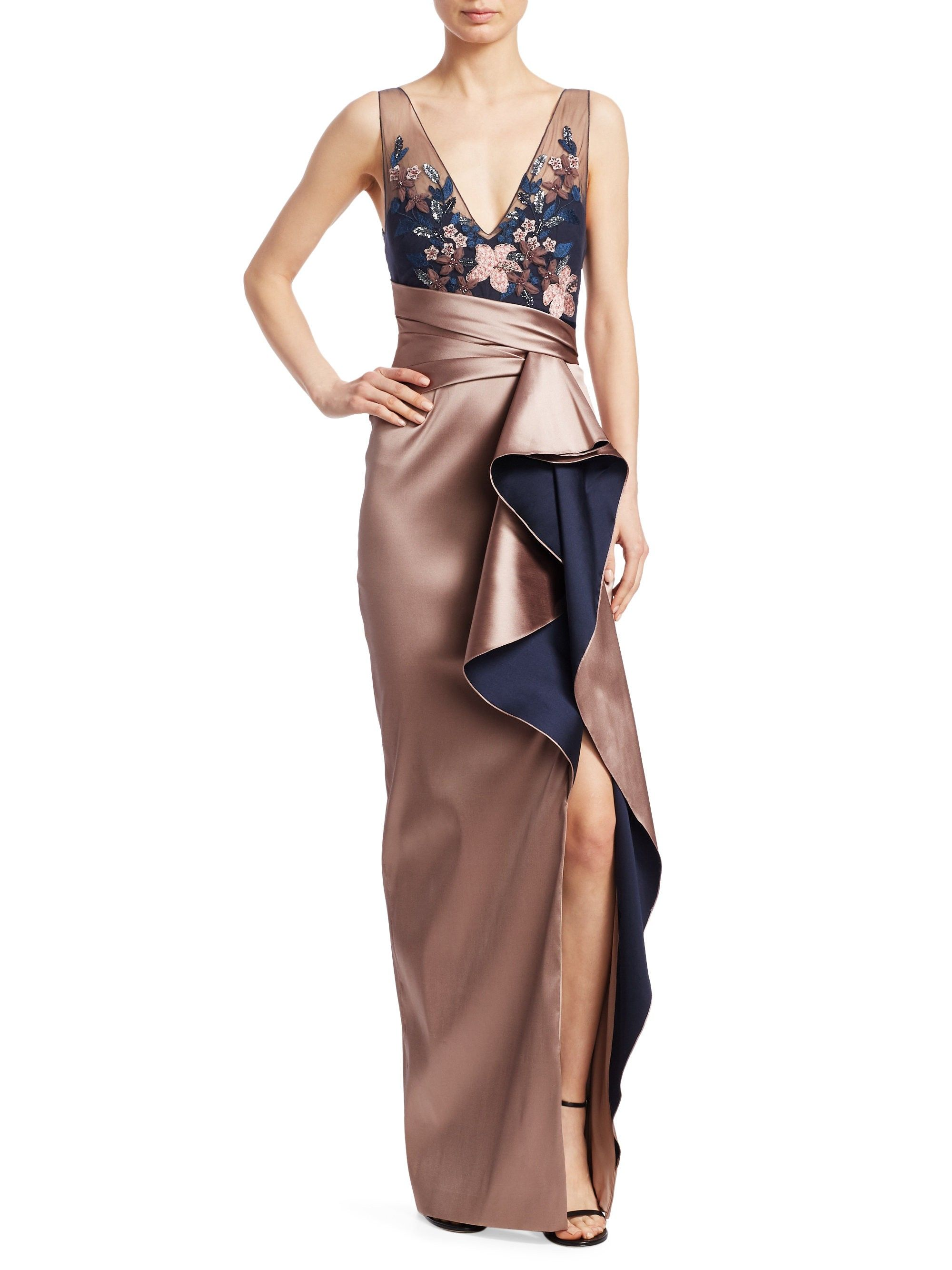 a3c74436 Sleeveless Two-Tone Ruffle Gown by MARCHESA NOTTE in 2019 | Products ...