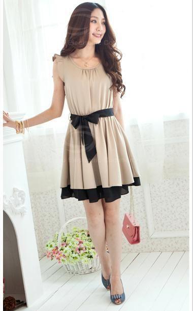 Sweet Scoop Neck Flounce Sleeve Layered Hem Elastic Waisted Chiffon Dress For Women Khaki