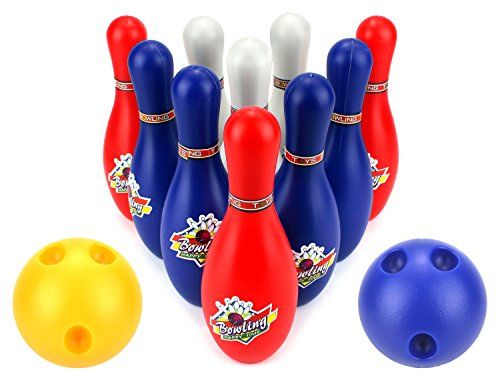 Happy Time Bowler Childrens Kids 12 Piece Toy Bowling Playset W 10 Pins 2 Bowling Balls Click On The Image F Fun Games For Kids Bowling Balls Bowling Games