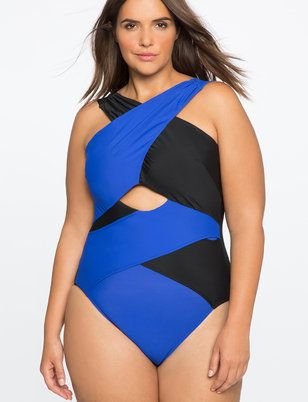 ea8bf23359 Plus Size Swimwear | Plus Size Crisscross One-Piece Swimsuit Sexy full  figured swimsuit (plus size) #fatkini