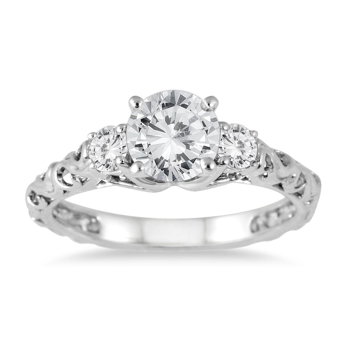 1 Carat Diamond Three Stone Art Deco Ring in 14K White Gold