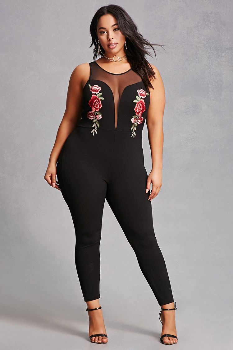 3d5fdba097d6 Forever 21+ - A stretch knit jumpsuit featuring an ornately stitched floral  embroidered design