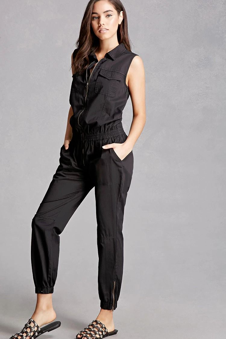 3a956dd823f1 A woven jumpsuit by Litz™ featuring a zip front