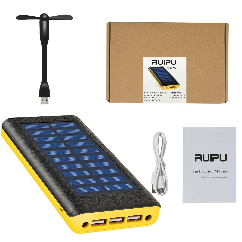 solar charger ruipu 24000mah portable solar power bank with 3 usb