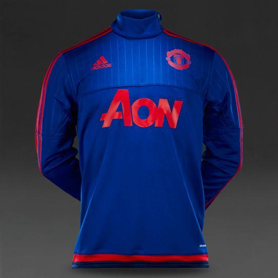 40121f4ff19 adidas Manchester United 15 16 Training Top - Collegiate Royal Scarlet Dark  Blue