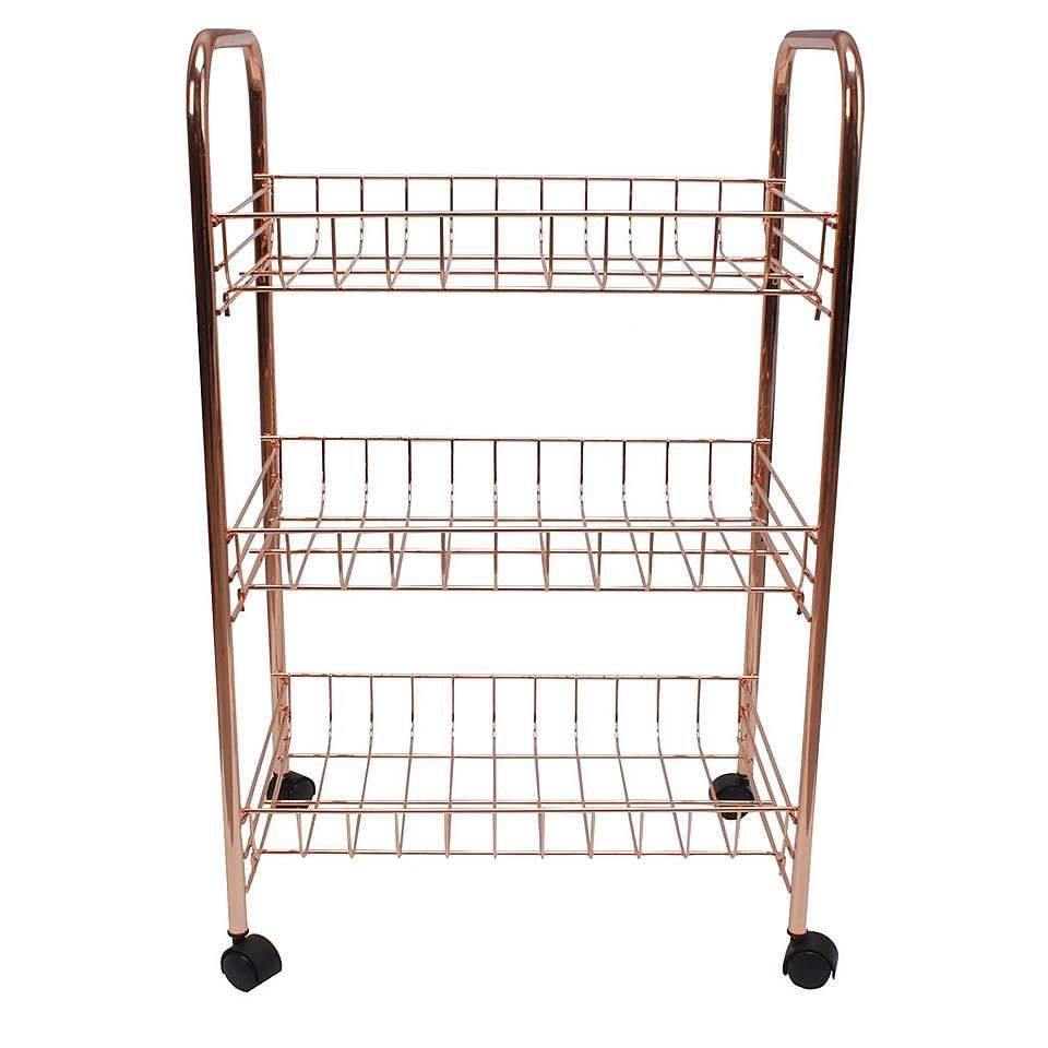 Copper Effect 3 Tier Storage Trolley Dunelm Copper Home Accessories Rose Gold Kitchen Accessories Storage Trolley