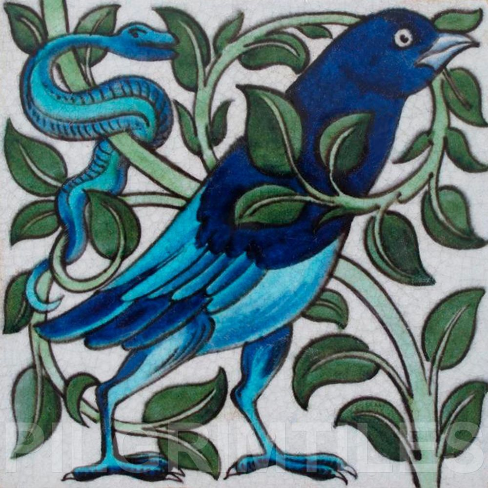 Metric Porcelain Tiles William De Morgan Bird & Snake Walls Floors ...
