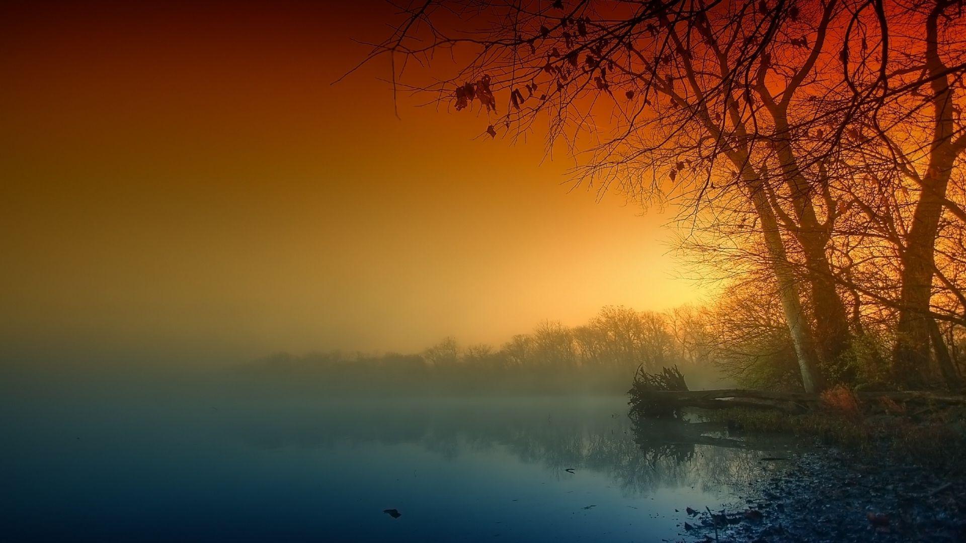 sonnenuntergang mit nebel und - photo #40