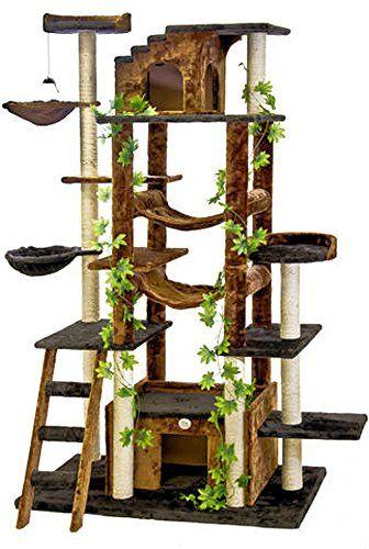 Amazon Com 77 Cat Tree In Brown Black Premium Cat Tree For