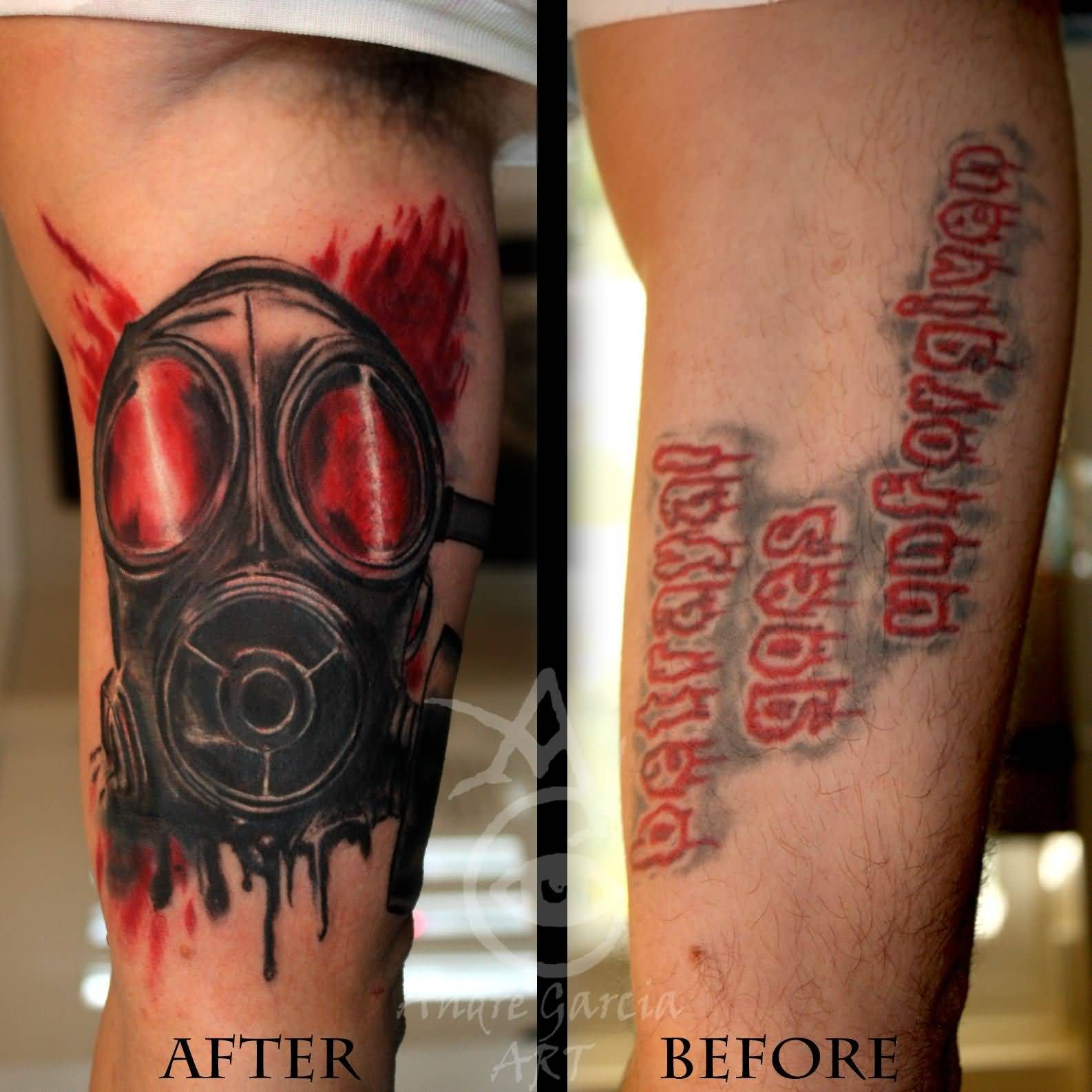 574a3a7fc04b6 Danger Gas Mask Cover Up Tattoo On Bicep   1   Gas mask tattoo, Mask ...