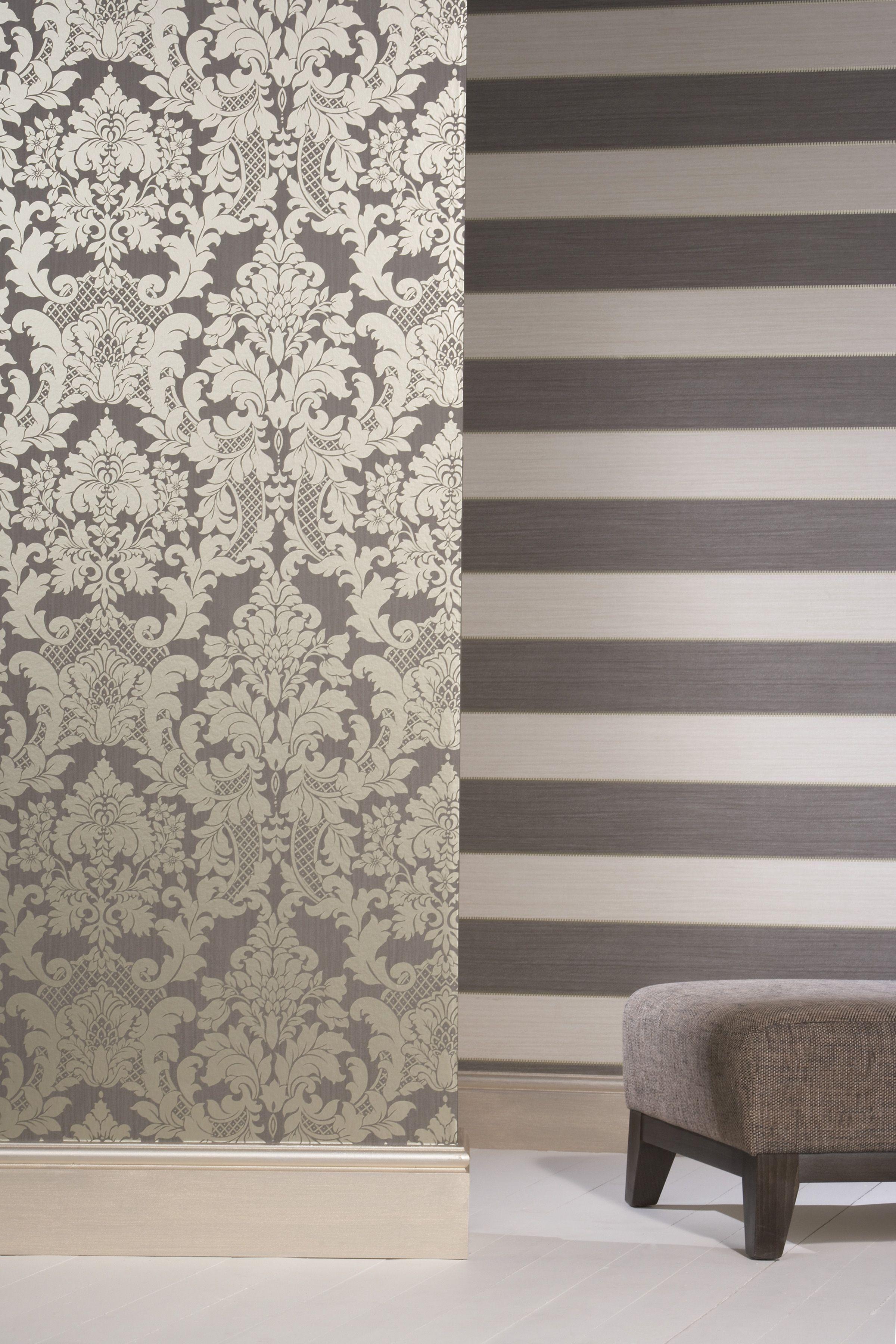 Berkeley Damask And Striped Wallpaper A1 Spongeable Wallpaper