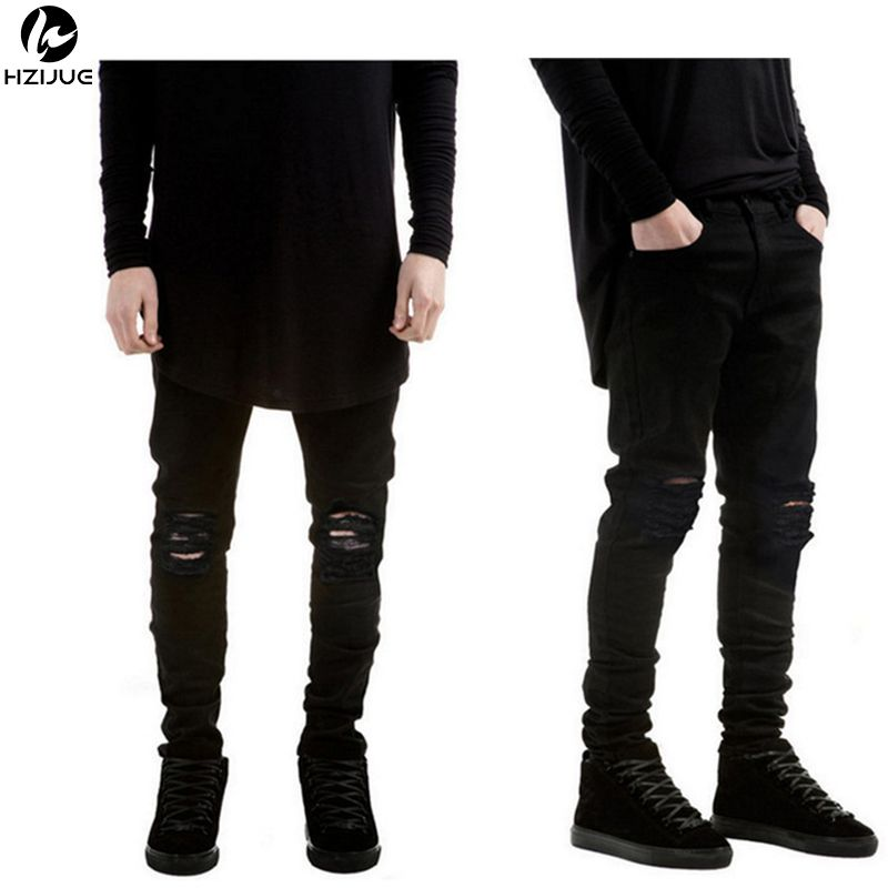 HZIJUE 2017 New Black Ripped Jeans Men With Holes Super Skinny ...