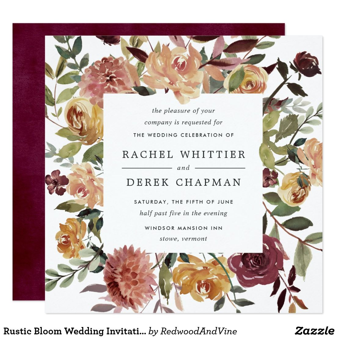 Rustic Bloom Wedding Invitation Square Botanical Wedding