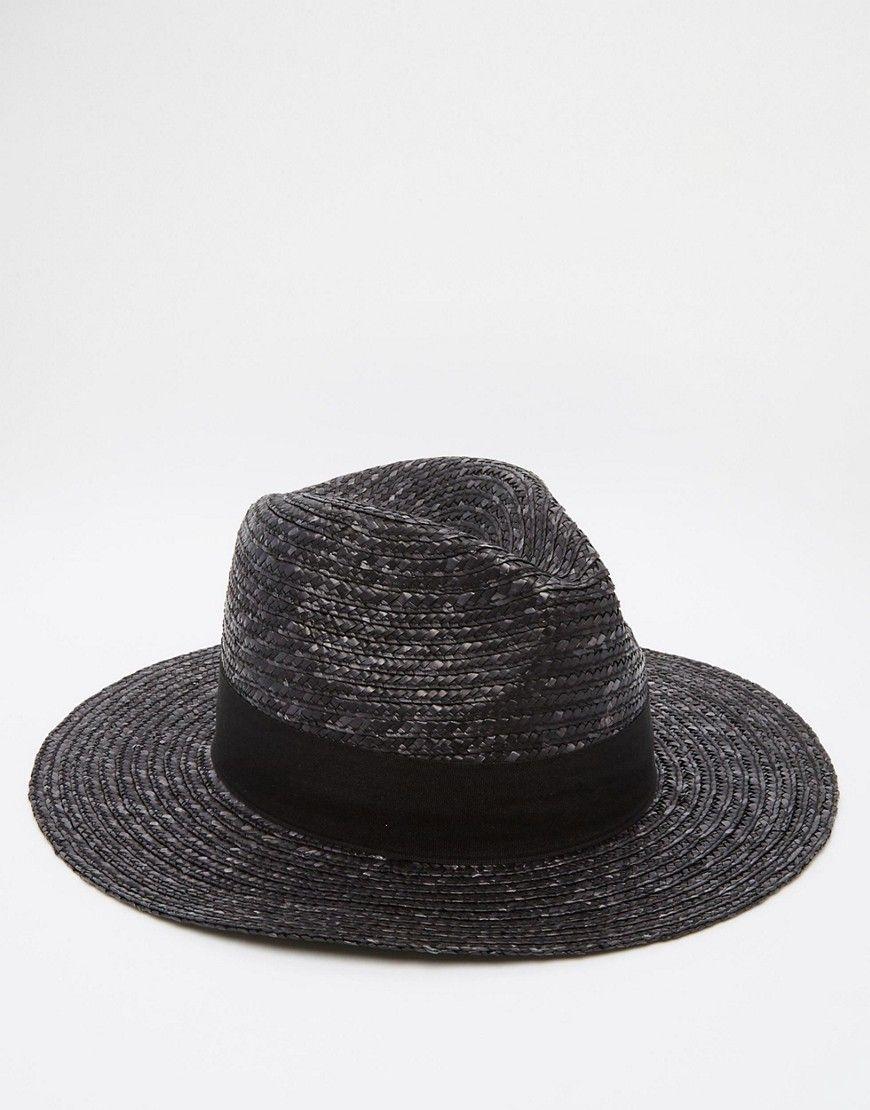 e6b8a6a39cf ASOS Straw Fedora Hat In Black