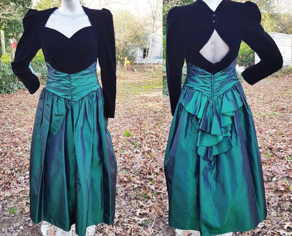 80s Prom Party Dress In Black Velvet Green Satin Vintage