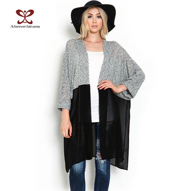 2016 Autumn Women Kimono Cardigan Knitted Chiffon Blouse Shirt ...