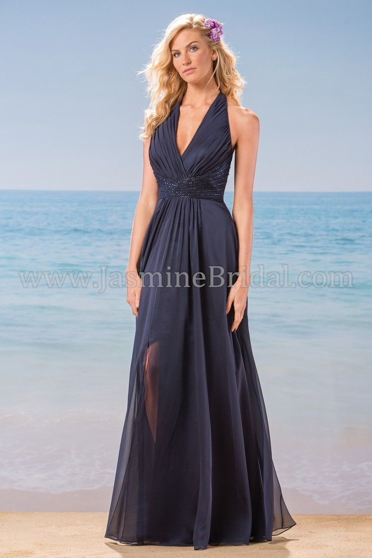 L184001 stunning long gown with front slit and halter strap l184001 stunning long gown with front slit and halter strap available in knee and halter bridesmaid dressesnavy bridesmaidsmissy ombrellifo Images