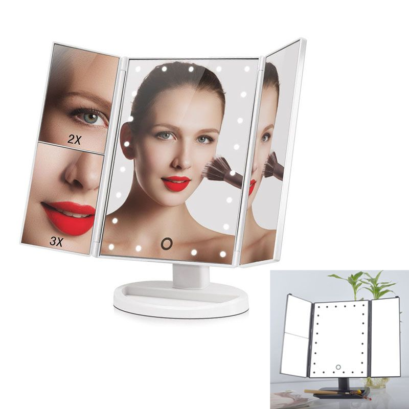 180 Degree Rotation Touch Screen Folding Make Up Mirrors With 24 Led Lights Pocket Mirror Makeup Tools Makeup Mirror With Lights Mirror With Lights Desk Mirror