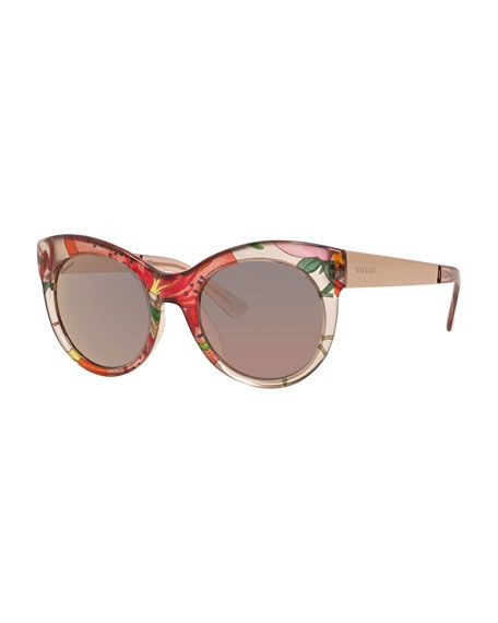 f04c3560f9c Gucci Transparent Floral Cat-Eye Sunglasses
