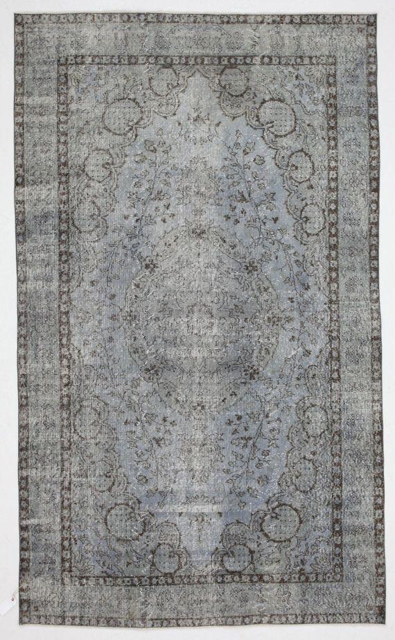 Vintage Turkish Pale Blue Grey Rug Medallion Carpet 9 5 X6