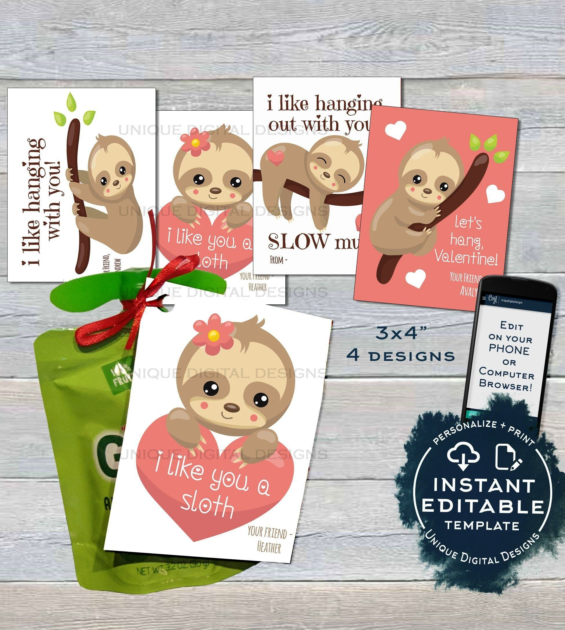 APPLESAUCE VALENTINE LABEL POUCH TAG, EDITABLE VALENTINE'S GIFTS FOR SCHOOL TEACHER Sloth Applesauc