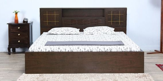 3e84d3d75a Hideki Goldline Queen Size Bed with Box Storage in Wenge Finish by Mintwud