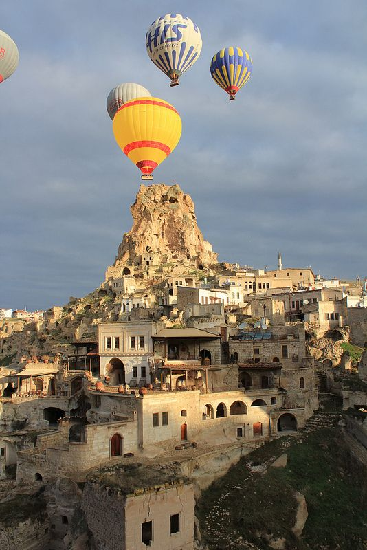 Cappadocia balloon trip over Ortahisar Castle, Nevşehir, Turkey