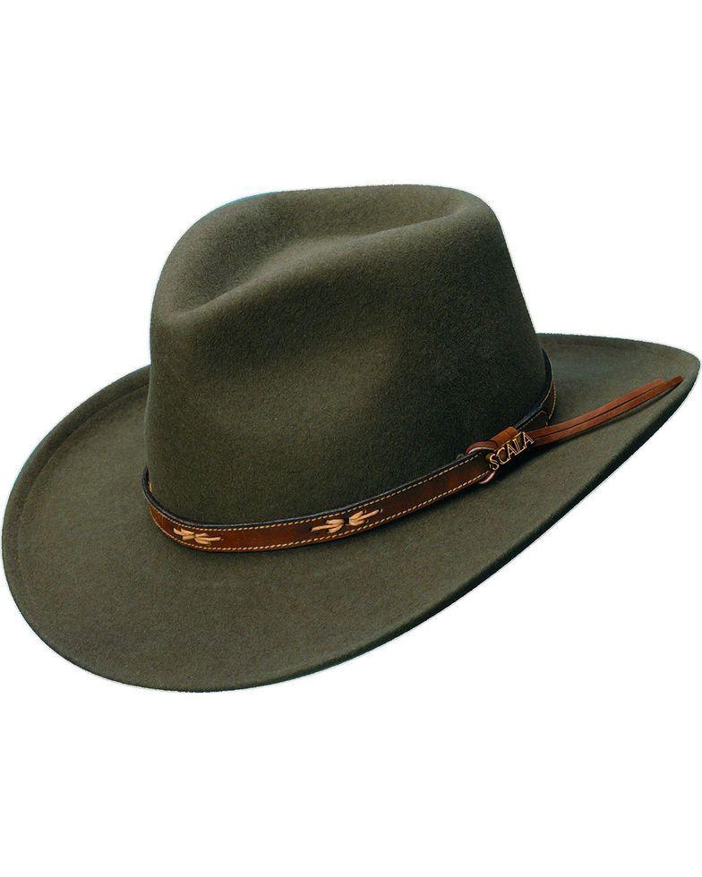 Scala Khaki Wool Felt Leather Band Outback Hat Khaki Outback Hat Hats For Men Scala Hats