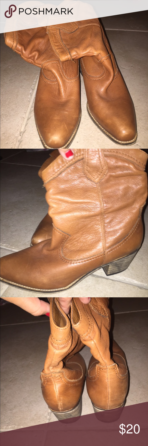 Cute girly tan cowboy boots! Aldo cowboy boots. Slightly worn Aldo Shoes Heeled Boots